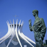 Statue before the Catedral Metropolitana, Brasilia, UNESCO World Heritage Site, Brazil Photographic Print by Geoff Renner