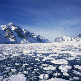 Loose Pack Ice in the Sea, with the Antarctic Peninsula in the Background, Antarctica Photographic Print by Geoff Renner