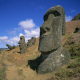 Moai Statues Carved from Crater Walls, Easter Island, Chile Photographic Print by Geoff Renner