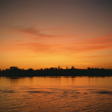 River Nile at Sunset, Water Reflecting Evening Sky, in Egypt, North Africa, Africa Photographic Print by Ken Wilson