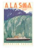 Cruise Liner by Alaskan Glacier Poster