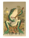 Frog Playing Banjo in Moonlight Posters