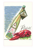 Lobster with Wine Bottle Lámina giclée prémium