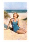 Blonde in Blue One-Piece in Dunes Láminas