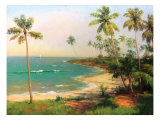 Tropical Coastline Reproduction giclée Premium par Karen Dupré