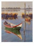 Green Boat Premium Giclee Print by Nenad Mirkovich