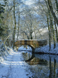 Snow on the Basingstoke Canal, Stacey's Bridge and Towpath, Winchfield, Hampshire, England, UK Reproduction photographique par Pearl Bucknall