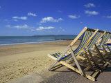 Deckchairs on the Promenade Overlooking Beach, West Cliff, Bournemouth, Dorset, England, UK Reproduction photographique par Pearl Bucknall