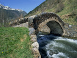 Ancient Stone Bridge over a River in the La Malana District in the Pyrenees in Andorra, Europe Photographic Print by Jeremy Bright