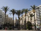 Plaza Ayuntamiento, Palm Trees, Buildings, Valencia, Mediterranean, Costa Del Azahar, Spain, Europe Impressão fotográfica por Martin Child