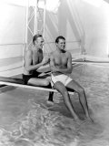Randolph Scott and Cary Grant Poolside at their Santa Monica Beach Front House, 1935 Foto