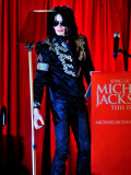 Michael Jackson at the O2 Arena in London, Where He Unveiled Plans for His Comeback, March 5, 2009 Photographic Print