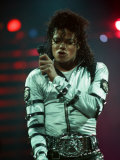 Michael Jackson Performing on Stage at Wembley During the Bad Concert Tour, July 14, 1997 Fotografisk trykk