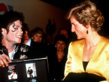 Michael Jackson Meeting Princess of Wales at a Concert in Wembley Stadium Photographic Print