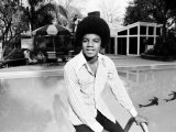 Michael Jackson at Home in Los Angeles by the Poolside, February 23, 1973 Reproduction photographique