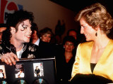 Michael Jackson Meeting Princess Diana at His Concert in Wembley Stadium, July 1988 Reproduction photographique