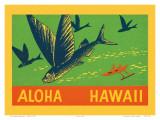 Flying Fish, Aloha Hawaii, c.1940 Poster