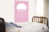 Pink Jellyfish Wall Mural by  Avalisa