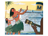 Hula Greeting on Boat Day, Honolulu Harbor, Hawaii, c.1930 Posters