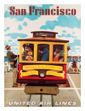 United Air Lines San Francisco, Cable Car c.1957 Giclee Print by Stan Galli