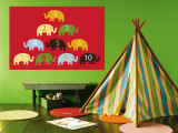 Red Counting Elephants Wall Mural by  Avalisa