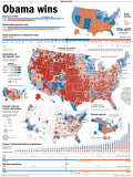 Obama Victory, Presidential Election 2008 Results by State and County Reproduction photographique