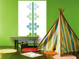 Green Flower Stem Wall Mural by  Avalisa