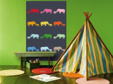 Blue Rainbow Rhinos Wall Mural by  Avalisa
