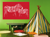 Red Zebra Wall Mural by  Avalisa