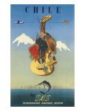 Scandinavian Airlines Chile, Gaucho Guitar, c.1951 Giclée-Druck von  De Ambrogio