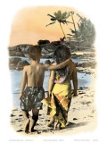 Young Sweethearts, Hand Colored Photo of Hawaiian Children Print by  Himani