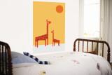 Red Giraffe Wall Mural by  Avalisa