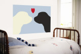 Blue Puppy Love Wall Mural by  Avalisa