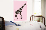 Pink Giraffe Wall Mural by  Avalisa