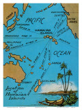 Hawaiian Islands Map, c.1920s Plakater