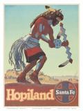 Santa Fe Railroad, Hopiland, Native American Hopi Indian, Arizona, 1940s Poster by Don Perceval
