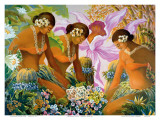 Hawaiian Hula, Women with Tropical Flowers Plakat af Warren Rapozo