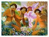 Hawaiian Hula, Women with Tropical Flowers Planscher av Warren Rapozo