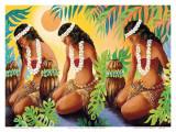 The Sun at the Source of Life, Hawaiian Hula Girls Plakat af Warren Rapozo