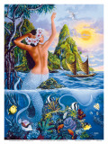 Wahine from the Sea, Hawaiian Mermaid Affischer av Warren Rapozo