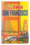 Fly TWA San Francisco, Golden Gate Bridge c.1958 Kunstdruck von David Klein