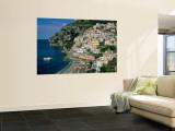 Amalfi Coast, Coastal View and Village, Positano, Campania, Italy Mural por Steve Vidler