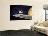 Artists Concept of Cassini During the Saturn Orbit Insertion Maneuver Wall Mural