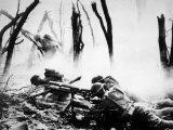 World War I, American Machine Gunners in Battle, 1918 Foto