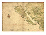1650 Karte von Baja Kalifornien and Northwest Mexico, Showing Kalifornien als Insel Foto