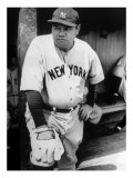 Babe Ruth in the New York Yankees Dugout at League Park in Clevelenad, Ohio, 1934 Fotografía