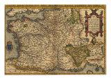 1570 Carte de France d'Abraham Ortelius, Theatrvm Orbis Terrarvm Photographie