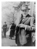 Sigmund Freud, Standing on Sidewalk Outside the Hague, Netherlands, 1920 Photo