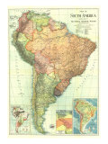 1921 South America Map Planscher av  National Geographic Maps