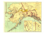 1898 Gold and Coal Fields of Alaska Map Premium Giclee-trykk av  National Geographic Maps